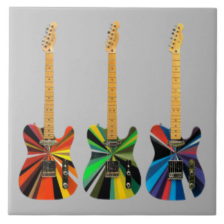 Animated Electric Guitars Large Square Tile
