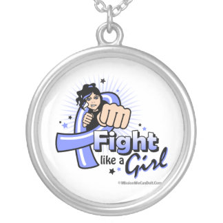 Animated Fight Like A Girl Stomach Cancer Round Pendant Necklace