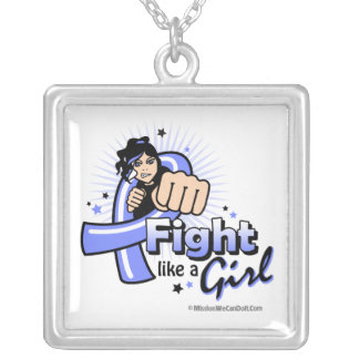 Animated Fight Like A Girl Stomach Cancer Square Pendant Necklace