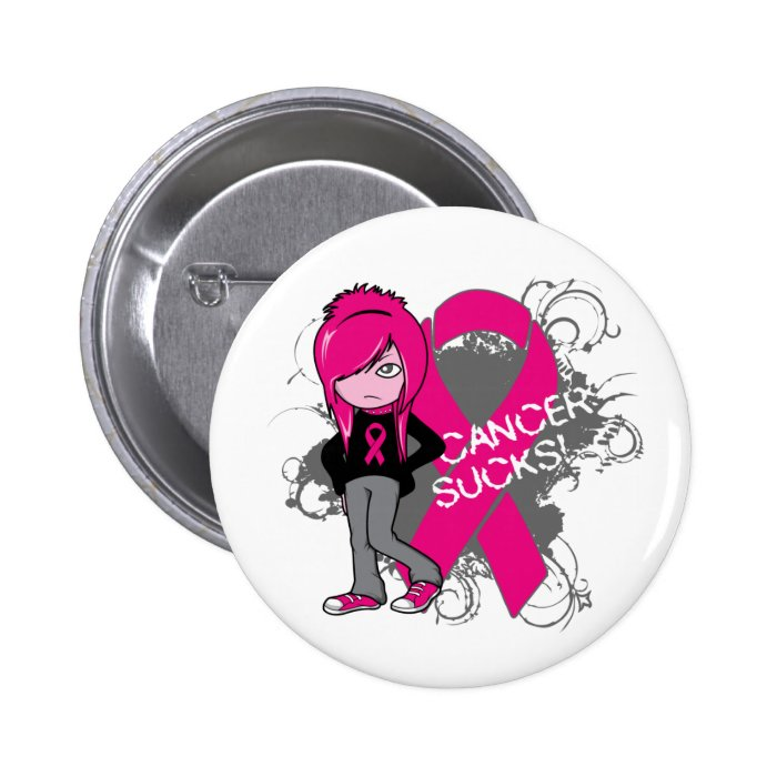 Animated Girl Breast Cancer Sucks 6 Cm Round Badge
