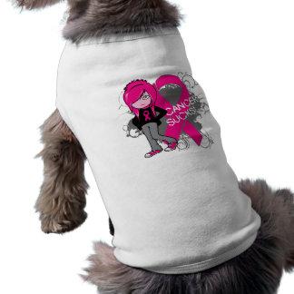 Animated Girl Breast Cancer Sucks Doggie T Shirt