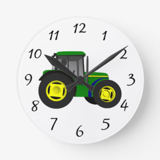 Animated Green Tractor Round Clock