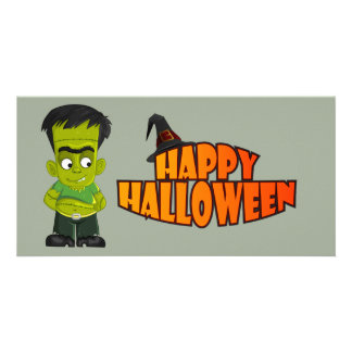 Animated Halloween Frankenstein Personalized Photo Card