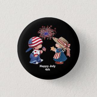 Animated July 4th children 3 Cm Round Badge