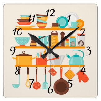 Kitchen Utensils Wall Clocks Zazzle Co Uk