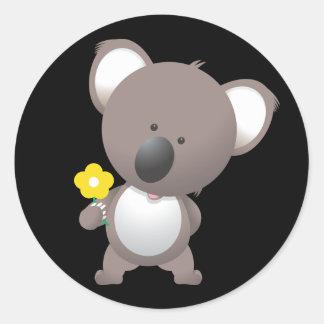 Animated Koala Bear Round Sticker
