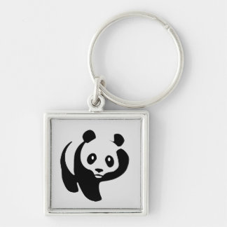 Animated Panda Bear keychain Silver-Colored Square Keychain
