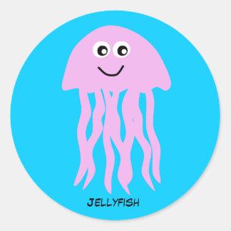 Animated Pink Jellyfish Classic Round Sticker