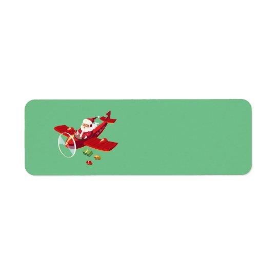 Animated Santa and his aeroplane Return Address Label