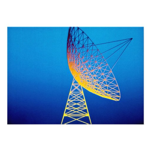 Animated satellite dish over blue background custom invite