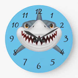 Animated Scary Shark Face Large Clock