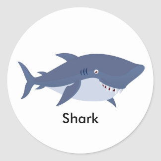 Animated Shark Classic Round Sticker