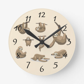 Animated Sloths Round Clock