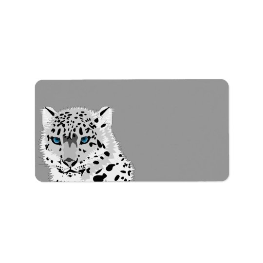 Animated Snow Leopard Label