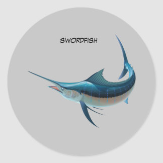 Animated Swordfish Round Sticker