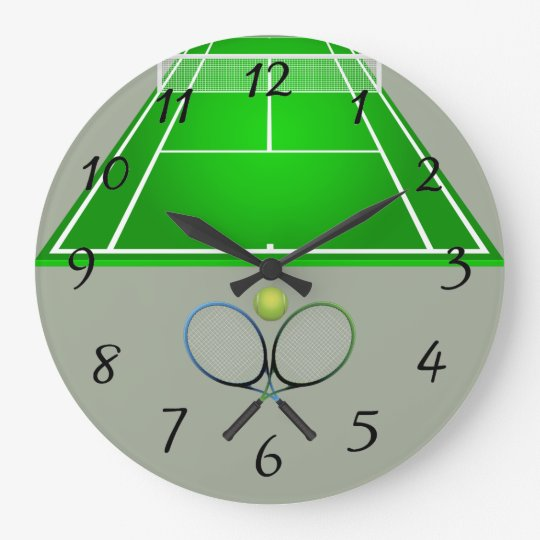 Animated Tennis Court and rackets Large Clock