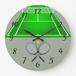 Animated Tennis Court and rackets Wallclocks