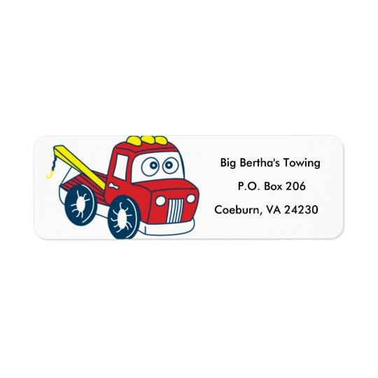 Animated Tow Truck Return Address Label