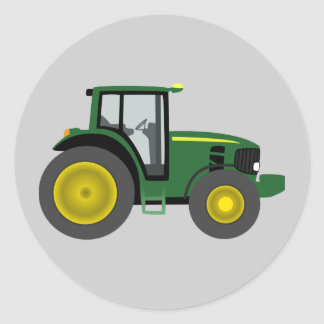 Animated Tractor Round Sticker