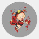 Animated Valentine's Day Red Bee Round Sticker