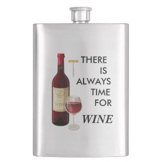 Animated wine bottle and glass hip flask