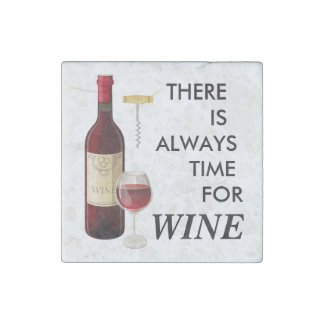 Animated wine bottle and glass stone magnet