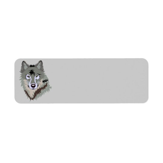 Animated Wolf Face Return Address Label