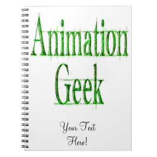 Animation Geek Green Spiral Note Books