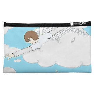 Anime Angel Boy Reaching Out From Clouds Makeup Bag