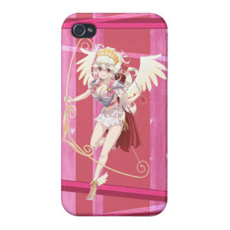Anime Angelic Cupid - Pink, On Hearts iPhone 4 Covers
