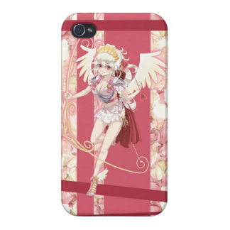 Anime Angelic Cupid - Pink, On Roses iPhone 4 Cases