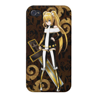 Anime Beauty of The Cross - Gold Brocades on Black iPhone 4 Case