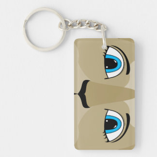 Anime Cat Face With Blue Eyes Double-Sided Rectangular Acrylic Key Ring