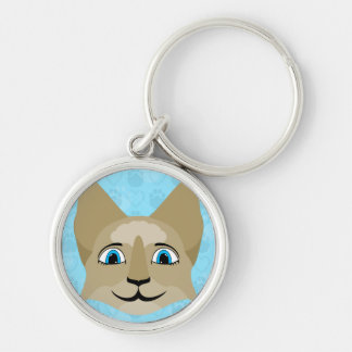 Anime Cat Face With Blue Eyes Key Chains