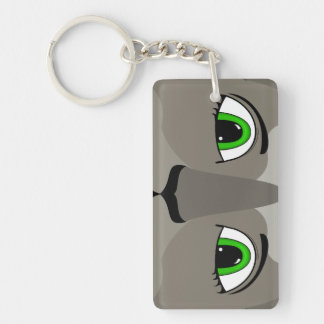 Anime Cat Face With Green Eyes Double-Sided Rectangular Acrylic Key Ring