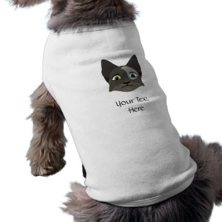 Anime Cat Face With Multi Colored Eyes Dog T Shirt