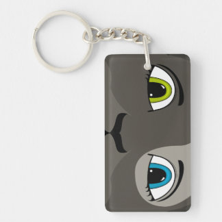 Anime Cat Face With Multi Colored Eyes Double-Sided Rectangular Acrylic Key Ring