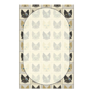 Anime Cat Faces Pattern Personalized Stationery