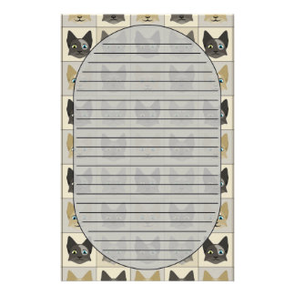 Anime Cat Faces Pattern Stationery Design