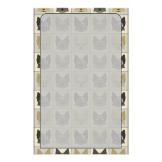 Anime Cat Faces Pattern Stationery Paper