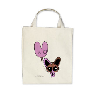 Anime Chibi Pink Bunny and Bunny Balloon Tote Bags
