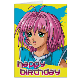 Anime Girl Birthday Card