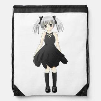 Anime girl drawstring bag