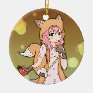 Anime Girl in Fox Cosplay Christmas Ornament