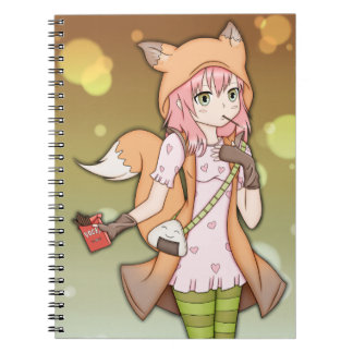 Anime Girl in Fox Cosplay Note Books