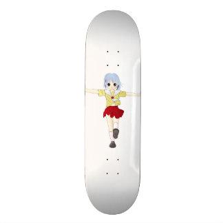 Anime Girl in Red Skirt Skateboard