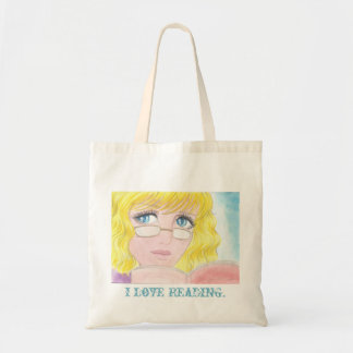 Anime girl reading book tote bag budget tote bag
