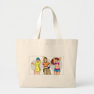 Anime Girl Triplets Large Tote Bag