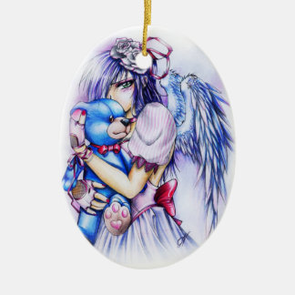 Anime Gothic Pink Angel Girl With Teddy Ceramic Oval Decoration