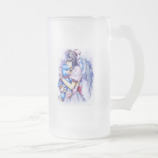 Anime Gothic Pink Angel Girl With Teddy Glass Beer Mug